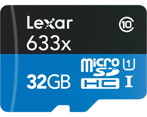 Lexar 633x 32GB microSDHC Flash Memory LSDMI32GBB1NL633R